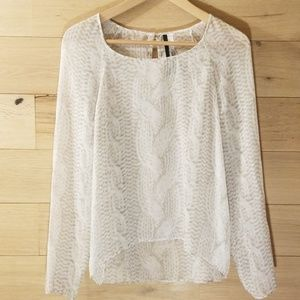 Kensie Sheer Cable Knit Print Blouse